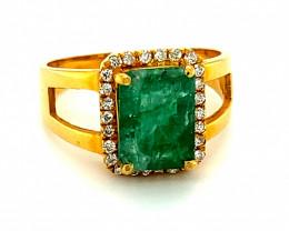 Emerald 2.80ct Natural Diamonds Solid 21K Saudi Gold Ring