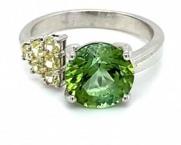 Green Tourmaline 3.20ct Natural Diamonds Solid 14K White Gold Ring