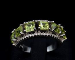 Natural Green Peridot 22.70 Cts CZ and  Silver Ring