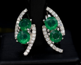 Beautiful Natural Green Agate 21.06 CTS, Silver Earring