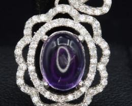 Beautiful Natural Amethyst & CZ  Silver Pendant