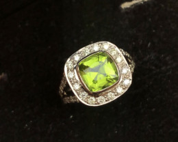 Presenting Incredible Electric Green Peridot With Diamonds in White Gold