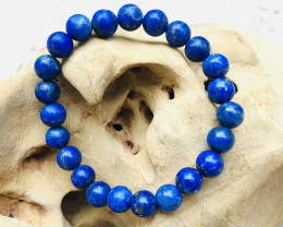 129 Carats Natural Lapis Bracelet with Round Shape Beads from Afghanistan
