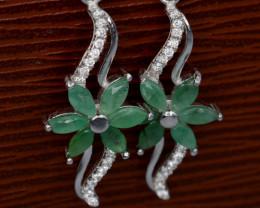 Beautiful Natural Emerald & CZ Silver Earrings