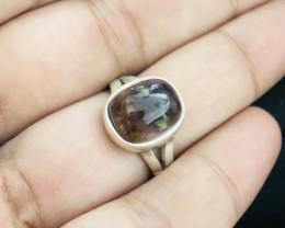 26 Carats Natural Rubellite Tourmaline Silver Ring