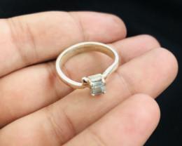 18 Carats Natural Sky Blue Tourmaline Silver Ring