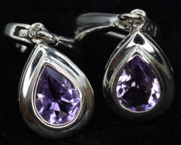 AAA Natural Amethyst Silver Earrings Unique Design