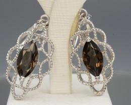 AAA Beautiful Natural Smoky Quartz  Silver Earrings
