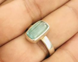 22 Carats Natural Paraiba Color Tourmaline Silver Ring