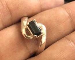 23  Carats Natural Dark Blue Tourmaline Silver Ring