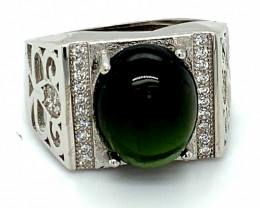 Green Tourmaline 5.90ct White Gold Finish Solid 925 Sterling Silver Ring