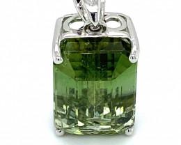 Green Tourmaline 12.00ct Solid 18K White Gold Pendant