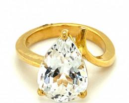 Kunzite 7.75ct Solid 18K Yellow Gold Ring