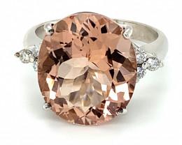 Brazilian Morganite 11.52ct  Natural Diamonds Solid 18K White Gold Ring