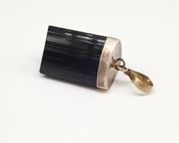 Natural Black Tourmaline Silver Pendant