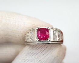 Natural Rubellite Tourmaline Ring In Sterling Silver