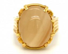 Orange Calcite 15.21ct Solid 18K Yellow Gold Ring