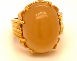 Orange Calcite 16.98ct Solid 18K Yellow Gold Ring