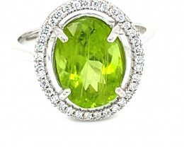 Peridot 3.50ct White Gold Finish Solid 925 Sterling Silver Ring