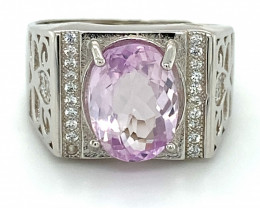 Pink Kunzite 4.00ct White Gold Finish Solid 925 Sterling Silver Ring