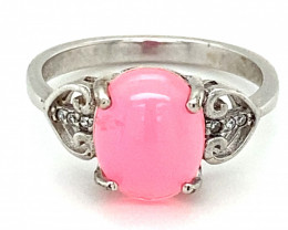 Pink Opal 2.02ct Platinum Finish Solid 925 Sterling Silver Ring