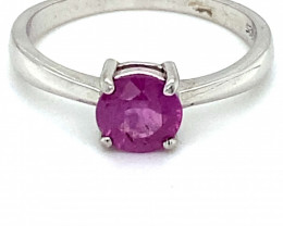 Pink Sapphire 1.35ct Platinum Finish Solid 925 Sterling Silver Ring