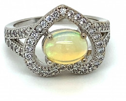 White Opal 1.34ct Platinum Finish Solid 925 Sterling Silver Ring