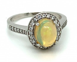Precious Opal 1.89ct Platinum Finish Solid 925 Sterling Silver Ring