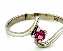 Rubellite .15ct Platinum Finish Solid 925 Sterling Silver Ring