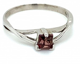 Rubellite .34ct Platinum Finish Solid 925 Sterling Silver Ring