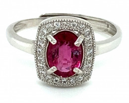 Rubellite .75ct White Gold Finish Solid 925 Sterling Silver Ring