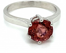 Rubellite 1.61ct Solid 14K White Gold Ring