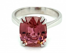 Rubellite 4.40ct Solid 14K White Gold Ring