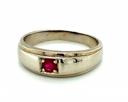 Ruby .22ct Platinum Finish Solid 925 Sterling Silver Ring