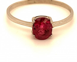 Burmese Ruby 1.04ct Platinum Finish Solid 925 Sterling Silver Ring