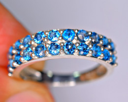 Natural Fresh Design 22Pis AAA London Blue Topaz 925 Silver Ring