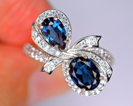 Natural AAA 2Pis London Blue Topaz ,CZ 925 Silver Ring