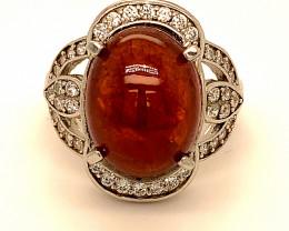 Spessartine 10.40ct Platinum Finish Solid 925 Sterling Silver Ring