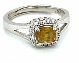 Sphene 1.05ct White Gold Finish Solid 925 Sterling Silver Ring