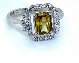 Sphene 1.25ct White Gold Finish Solid 925 Sterling Silver Ring