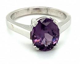 Tunduru Purple Spinel 3.25ct Solid 18K White Gold Ring