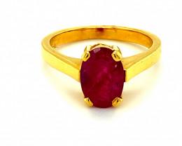 Tajikistan Ruby 2.35ct Solid 18K Yellow Gold Ring