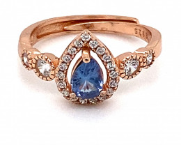 Tanzanite .50ct Rose Gold Finish Solid 925 Sterling Silver Ring