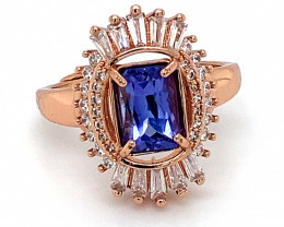 Tanzanite 1.30ct Rose Gold Finish Solid 925 Sterling Silver Ring