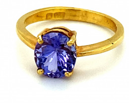 Tanzanite 1.79ct Solid 22K Yellow Gold Ring
