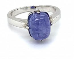 Tanzanite 5.16ct Rhodium Finish Solid 925 Sterling Silver Ring