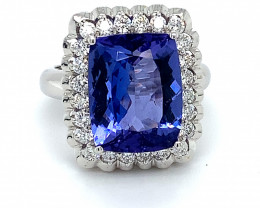 Certified Tanzanite 8.61ct Natural Diamonds Solid 18K White Gold Ring
