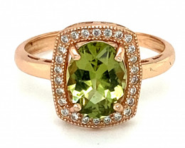 Green Tourmaline 1.70ct Rose Gold Finish Solid 925 Sterling Silver Ring
