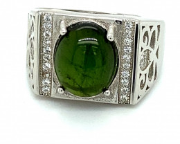 Green Tourmaline 4.00ct White Gold Finish Solid 925 Sterling Silver Ring