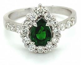 Tsavorite 1.45ct Natural Diamonds Solid 14K White Gold Ring